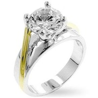 WildKlass Two-tone Finish Solitaire Engagement Ring
