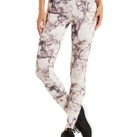 Purple Caged Marble Print Workout Pants by Charlotte Russe