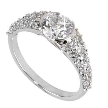 Sterling Silver 1.25ct Cubic Zirconia Ring 7mm Round CZ AAA Grade