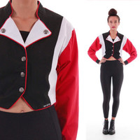 90's Cropped Color Block Lightweight Jacket Red Black White Slouchy Vintage Hip Hop Hipster Clothing Women's Size Small