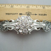 Vintage Victorian style Handcrafted Wedding hair Barrette hair clip rhinestone button center silver