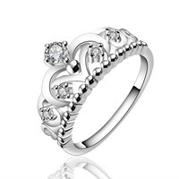 New Women's 925 Sterling Silver Plated knit Ring Clear CZ Rings Size (With Thanksgiving&Christmas Gift Box)= 1958202756