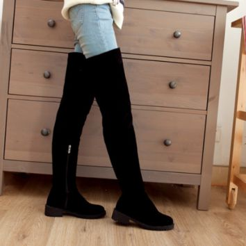 Women Black Thigh High Boots Zipper Wedges Shoes Woman 2016 3564