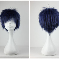 Kuroko no Basuke Aomine Daiki Classical Short Blue Black Man Cosplay Wig,New Highlight Ombre Colorful Candy Colored synthetic Hair Extension Hair piece 1pcs WIG-232A