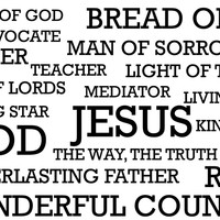 Names of God, Names of Jesus Wall Decal; Word Cloud Wall Decals