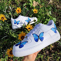 Onewel Nike Air Force 1 Low Print Women and Men casual cushioning shoes blue butterfly