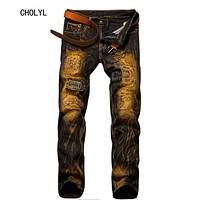 Fashion Vintage Mens Ripped Jeans Pants Slim Fit Distressed Hip Hop Denim Joggers Male Novelty Streetwear Jean Trousers 28 to 38