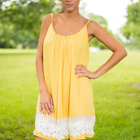 Lace Your Peers Dress, Yellow