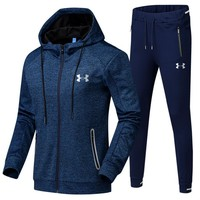 Under Armour Casual Hoodie Top Sweater Pants Trousers Set Two-piece Sportswear Blue