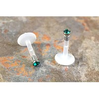 Emerald Green Crystal Cartliage Earring Labret Monroe Tragus Helix Piercing 16 Gauge