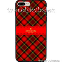 Best COVER CASE IPHONE 7/ 7 Plus Print Design Kate Spade Red Checkered Pattern