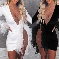 New arrival women's round neck mesh stitching feather dress slim fit dress
