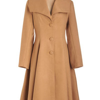 ModCloth Vintage Inspired Long Long Sleeve Intrigue All About It Coat in Camel