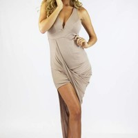 Taupe Deep V Wrap Dress