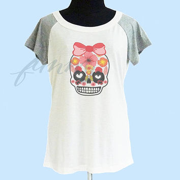 Heart skull floral t shirt wide neck thin t shirt** off white grey women t shirt size S M L **quote shirt **cute tshirts