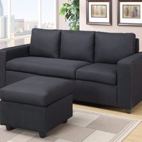 Black Grey Fabric Reversible Sectional Sofa