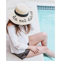 Embroidered Floppy Sun Straw Hat