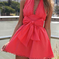Red Mini Halter Dress