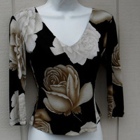 ON SALE 90's Black Jersey Top with Photoprint Brown Rose Floral / Vintage stretch knit tee shirt / Size Sml to Med