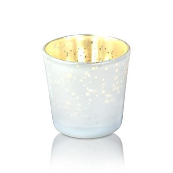 Vintage Mercury Glass Candle Holder (2.5-Inch, Lila Design, Liquid Motif, Pearl White) - For Use with Tea Lights - For Parties, Weddings and Homes