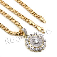 Lab diamond Micro Pave Round Diamond Medallion Pendant w/ Miami Cuban Chain BR54
