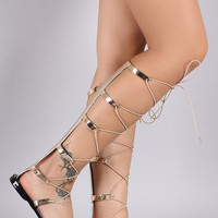 Qupid Metallic Jelly Strappy Lace Up Gladiator Flat Sandal