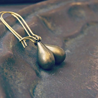 Golden brass Drop Earrings, Minimal Charm golden Dangle earrings, Casual Trendy mixed metal Jewelry, Bridesmaid Gift, Spring light Jewelry,