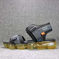 Off White x Nike Air VaporMax Sandals Black Yellow Slides 850588-002 Flip Flops - Sale