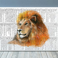 Wildlife print Lion poster Watercolor decor Animal print RTA1971