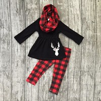 Fall/winter 3 pieces scarf red black Christmas baby girls outfits children clothes reindeer plaid cotton pant boutique kids wear