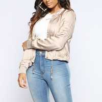 City Skies Satin Bomber Jacket - Tan