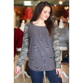 Distressed Out Camo Sleeve Top {Grey Mix}