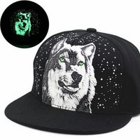 WeShop® - New Glow In The Dark Snapback Hats Party Caps Fluorescent Baseball Cap Casual Hip Hop Luminous Caps Fitted Hats for Women, Men Wolf