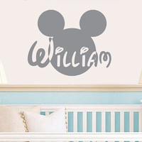 Wall Decal Vinyl Sticker Decals Art Home Decor Design Mural Disney Personalized Custom Baby Name Head Mice Ears Mickey Mouse Gift Kids AN341