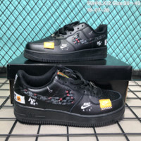 HCXX N179 Nike Air Force 1 Low Just Do IT Leather Fashion Causal Skate Shoes Black
