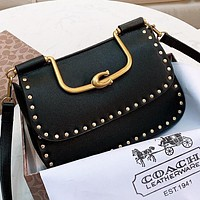 COACH Fashion new rivets leather shopping leisure shoulder bag crossbody bag handbag Black