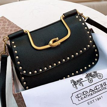 Hipgirls COACH Fashion new rivets leather shopping leisure shoulder bag crossbody bag handbag Black