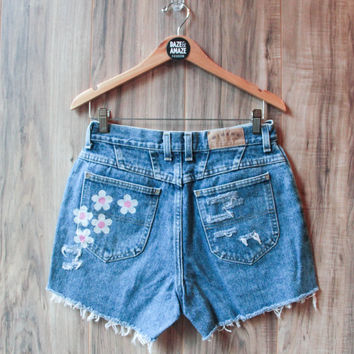 High Waisted Denim Shorts Vintage Ripped Distressed Floral Daisy Flower Hand Painted