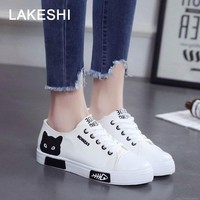 QUANZIXUAN Cartoon canvas shoes Women Vulcanize Shoes 2018 autumn woman shoes Lace Up flat shoes women Sneakers women