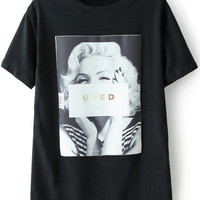 USED Graphic Print Shirt in Black
