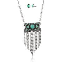 Silvertone Antique Chain and Turquoise Necklace with Matching Earrings Jewelry Set