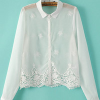White Lapel Embroidered Crop Chiffon Blouse - Sheinside.com