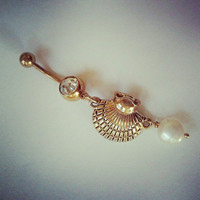 Belly Button Jewelry Ring- Pearl and Oyster Clam Sea Shell Charm Gold Tone Titanium Golden Seashell Dangle Navel Piercing Barbell