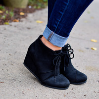 Little Black Wedge Bootie