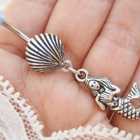 Belly Button Jewelry- Mermaid Navel Ring Oyster Clam Seashell Blue Sea Shell Charm Piercing Bar Barbell