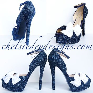 Navy Blue Glitter High Heels, Open Toe Strappy Shoes, Blue Platform Prom Pumps