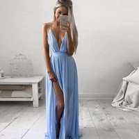 Sexy Deep V Spaghetti Strap Split Irregular Prom Dress One Piece Dress [7767332423]