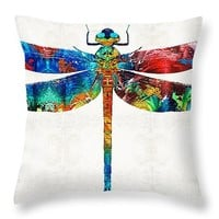 """Colorful Dragonfly Art By Sharon Cummings Throw Pillow 14"""" x 14"""""""