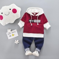 2017 New autumn fashion Childrens baby Boys/Girls clothes Suit Newborn Cotton Hooded Jacket+Jeans Pants 2pcs Sets Baby Clothes