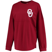 Women's Pressbox Crimson Oklahoma Sooners Rally Cry Sweeper Long Sleeve T-Shirt